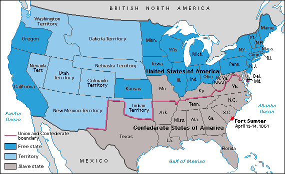 Civil War map shows line between Union States & Confederate States ...